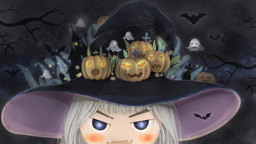 Original Illustration Halloween Carnival Night Pumpkin Party, Halloween, Pumpkin, Bat llustration image