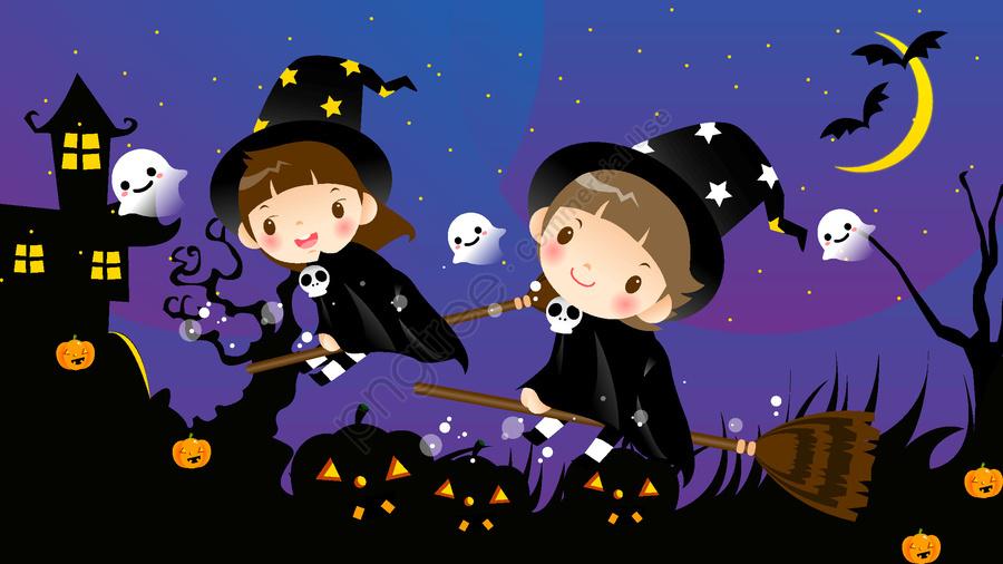 ليلة عيد الهالوين من فتاة صغيرة, هالوين, رأس اليقطين, ليل llustration image
