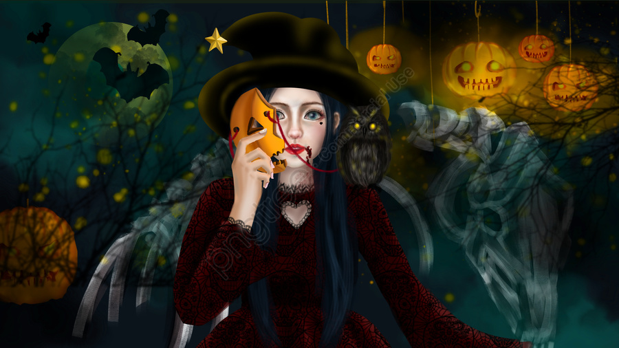 Halloween Pumpkin Mask Witch Magic Fantasy Animal Black Forest, Halloween, Bí Ngô, Mặt Nạ llustration image