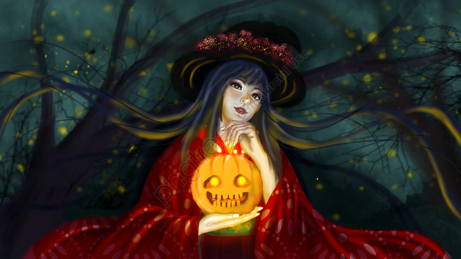 Halloween and wind red witch holding a pumpkin lamp late night firefly, Halloween, Zephyr, Red llustration image