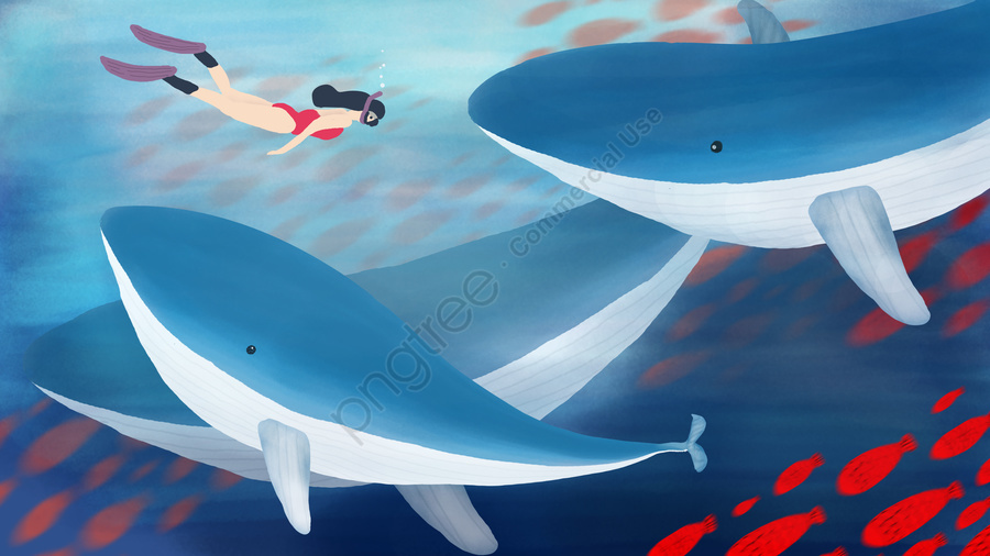 Original deep sea whale fish group swims the ocean to cure hand-painted, Hand Painted, Whale, Deep Sea llustration image
