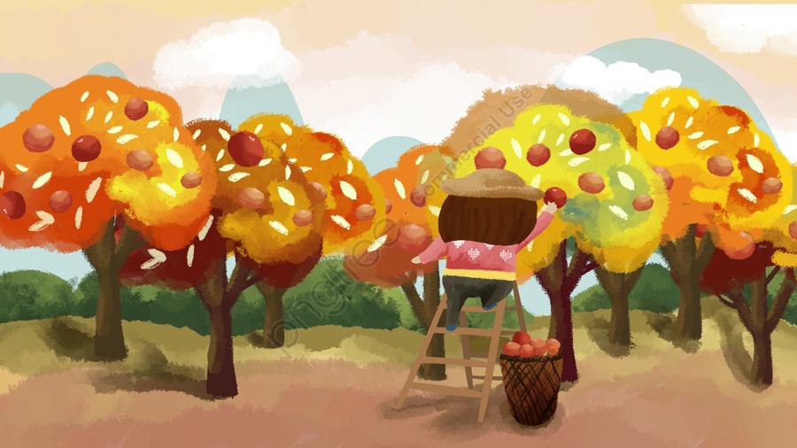 Golden Autumn Traditional Festival Busy Harvest Picking Fruit Illustration, Harvest, Fruit Tree, Fruit llustration image