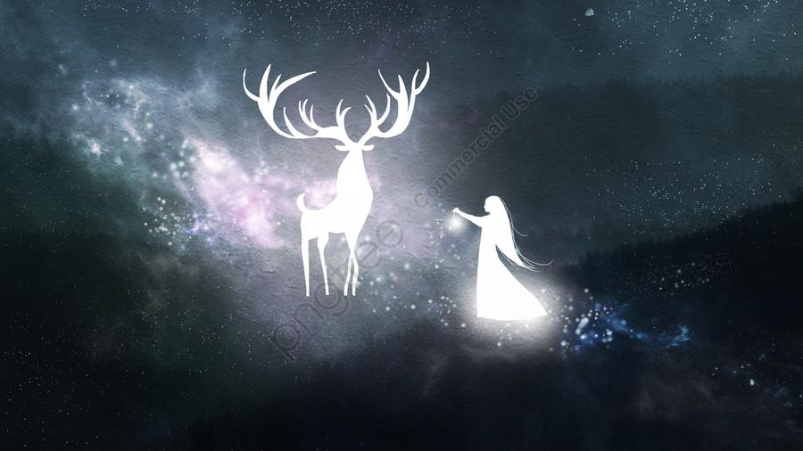 Healing a girl and deer in beautiful dreamland, Healing, Beautiful, Dream llustration image