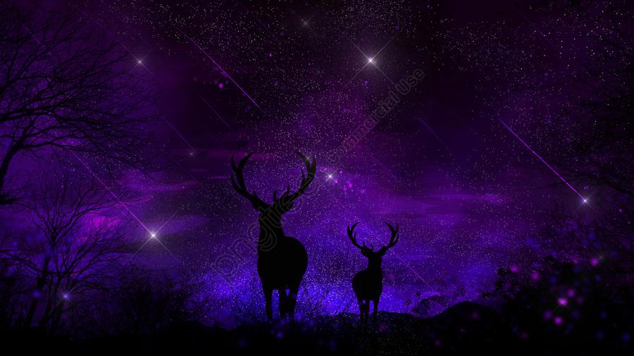 हिरण के साथ सुंदर रोमांटिक तारों से भरा जंगल, हीलिंग प्रणाली, सुंदर, रोमांटिक llustration image