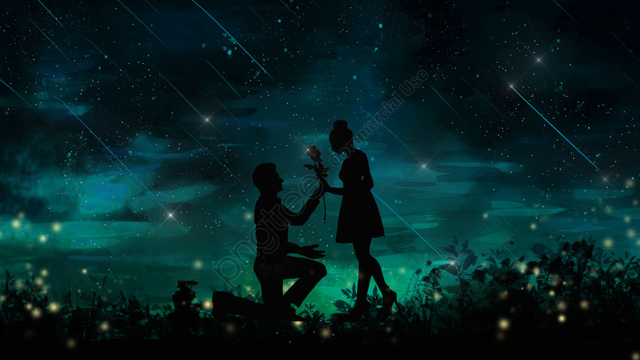 Cure the silhouette of a couple who is married under romantic starry sky, Healing, Beautiful, Romantic llustration image