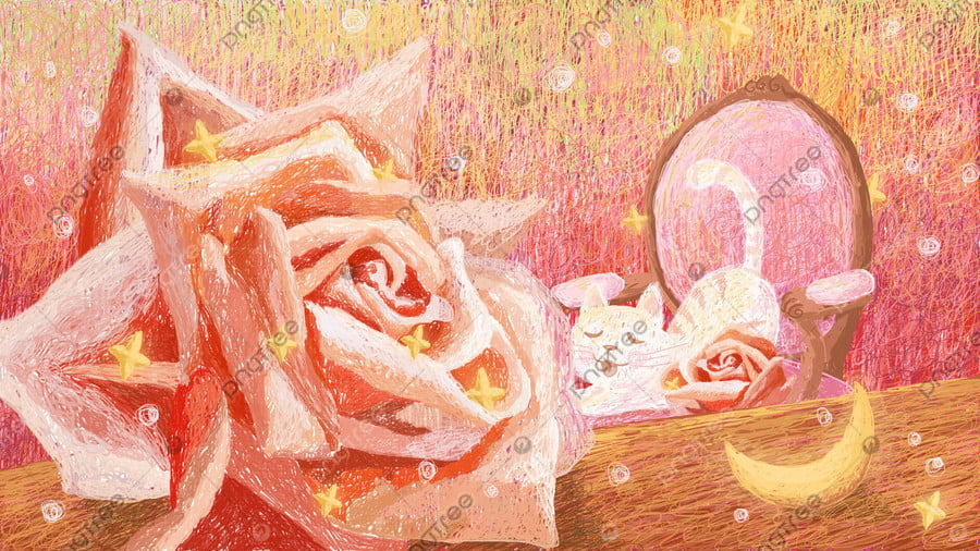 Original hand-painted illustration healing coils cats and roses, Healing, Cure, Coil Painting llustration image