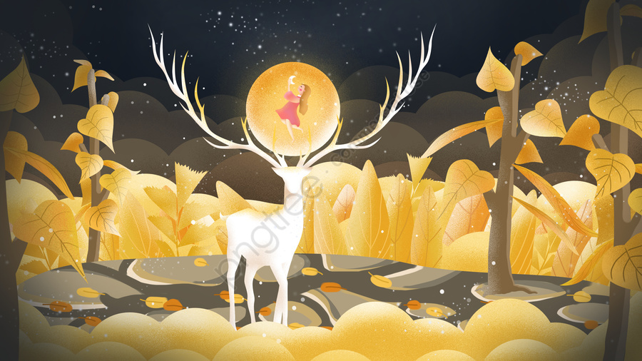Original hand-painted illustration of healing forests and deer, Healing, Cure, Forest And Deer llustration image