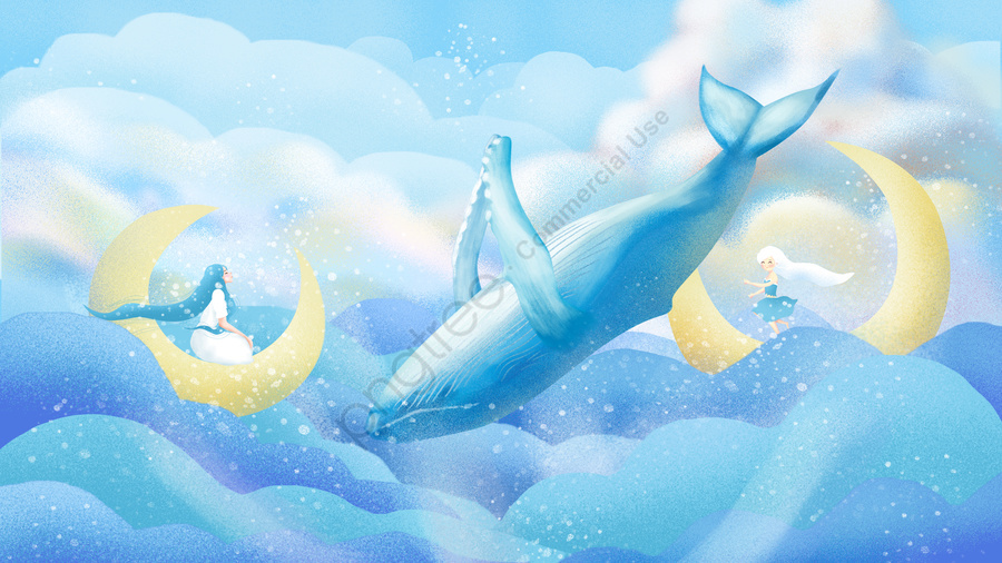 Original hand-painted illustration to heal the sea and whale, Healing, Cure, Sea And Whale llustration image
