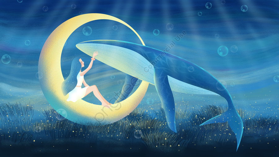Original hand-painted illustration to heal the sea and whale, Healing, Cure, Sea llustration image