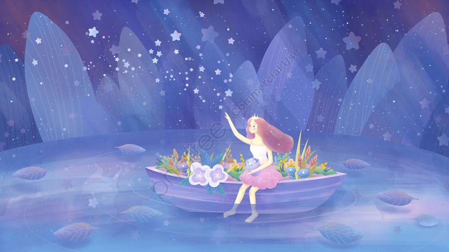 Original hand-painted illustration healing girl sitting on the boat looking at sky, Healing, Cure, Starry Sky llustration image