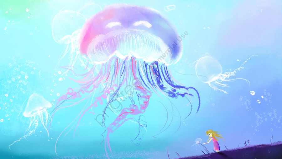 Healing dream ocean jellyfish, Healing, Dream, Romantic llustration image