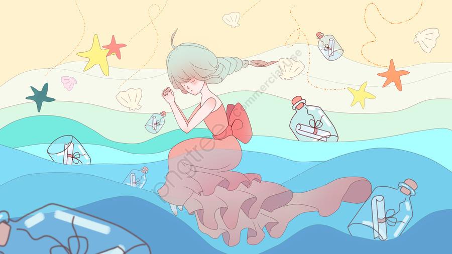 癒しの女の子漂流ボトルキャンディーカラー小さな新鮮なビーチサーフヒトデ, 癒し系, 少女, ドリフトボトル llustration image