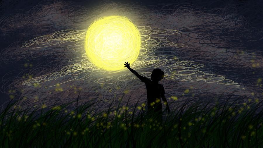 月の月光と空の空の牧草地と手描きの子供たち, 癒しのイラスト, 装飾画, 壁紙 llustration image