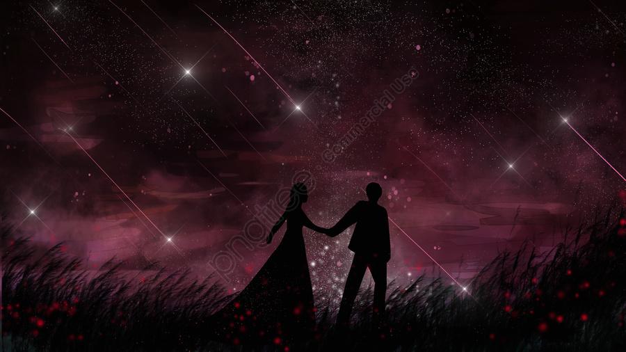 Healing a romantic couple walking under the stars, Healing, Romantic, Beautiful llustration image