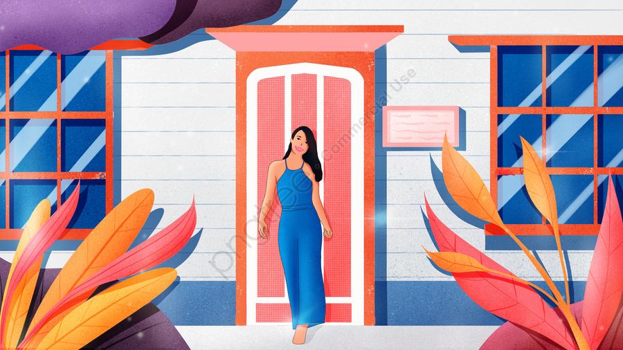 Hello November Hand Painted Elevation Illustration Wallpaper