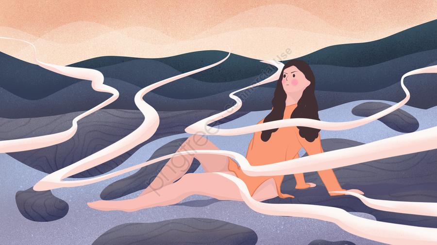 こんにちは9月、雲の間に座っている屋外の女の子、手描きのポスターイラスト, こんにちは, 9月, ハローシリーズ llustration image
