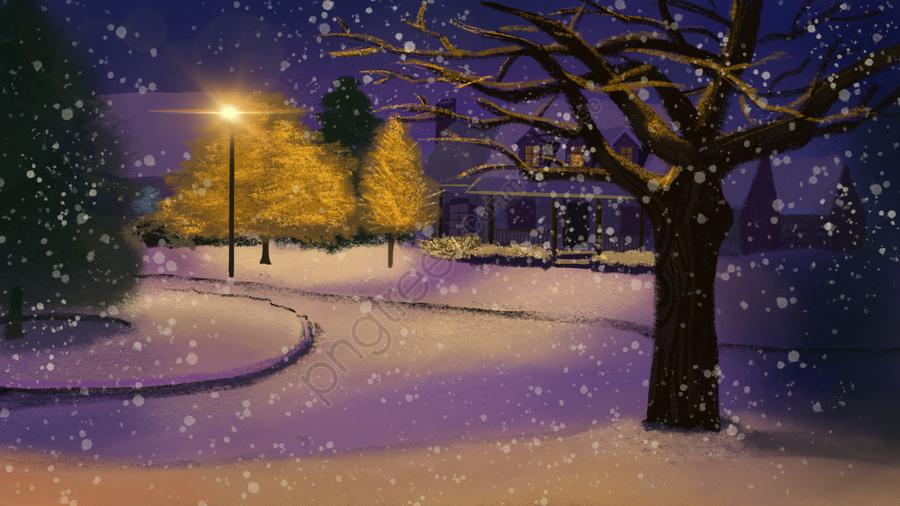 Winter Hello Snowy Night Scene Illustration, Hello Winter, Winter, Snow llustration image