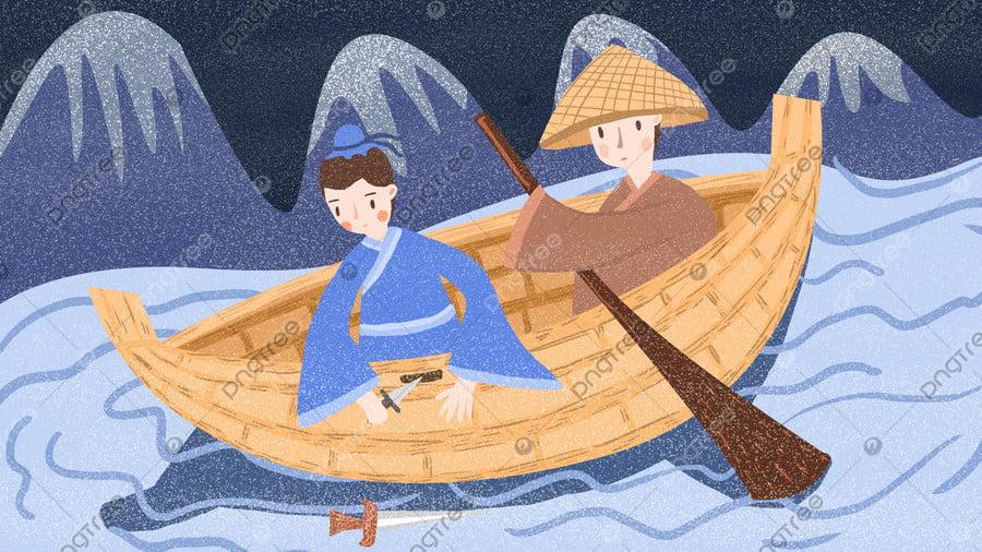 , パブリックナンバー, 舟を刻む, 古代 llustration image