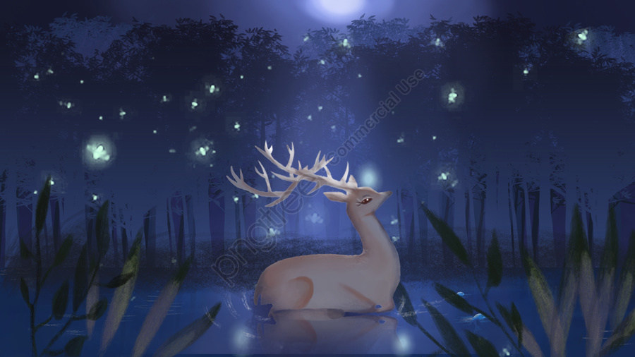 Firefly illustration of a simple fresh forest with deer in the night sky, Illustration, Hand Painted, Forest And Deer llustration image