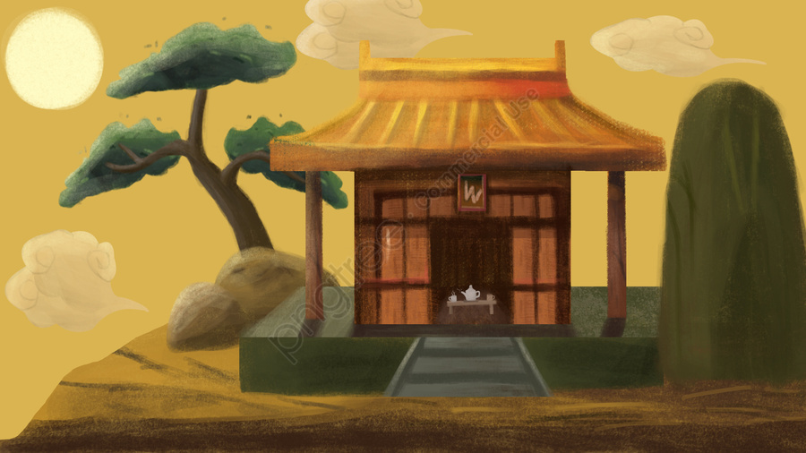 Simple And Fresh Ancient Architecture, Illustration, Hand Painted, Simple And Clear llustration image