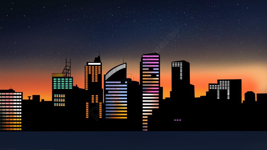 Gió đơn Giản Nửa đêm Thành Phố View, Minh Họa, Đơn Giản, Gió Phẳng llustration image