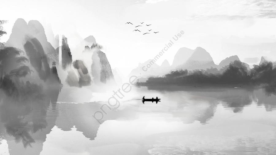 Phong Cách Trung Quốc Mực Và Rửa Tranh Cảnh Bắn Tung Tóe Trắng, Mực, Phong Cảnh, Thuyền llustration image