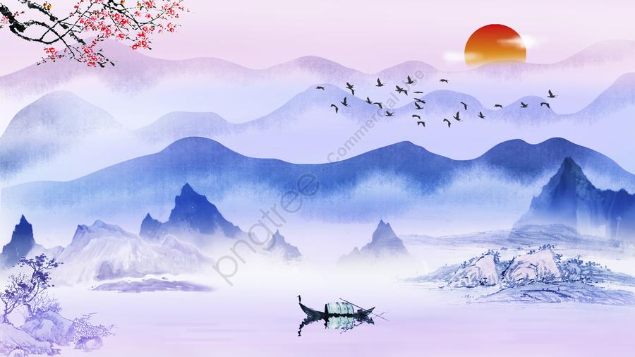 インク、中華風、風景、癒し、手描きイラスト, インク塗装, 中華風, 中華風インクイラスト llustration image