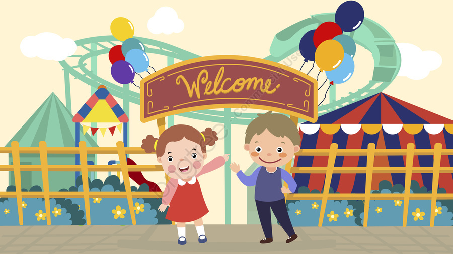 国際こどもの日遊園地ツアーイラスト, 国際こどもの日, 遊園地, カルーセル llustration image