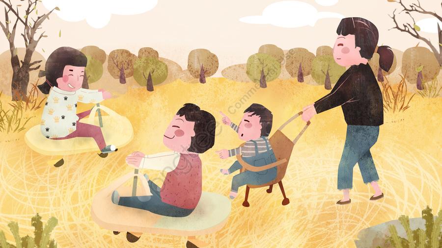 Dia Internacional Da Criança As Crianças Que Jogam O Carro Menina No Outono São Calorosamente Curadas , Dia Internacional Da Criança, Outono, Niu Niu llustration image