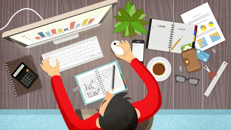 Подавленный угол деловой работы ежедневной иллюстрации, работа, квартира, бизнес llustration image