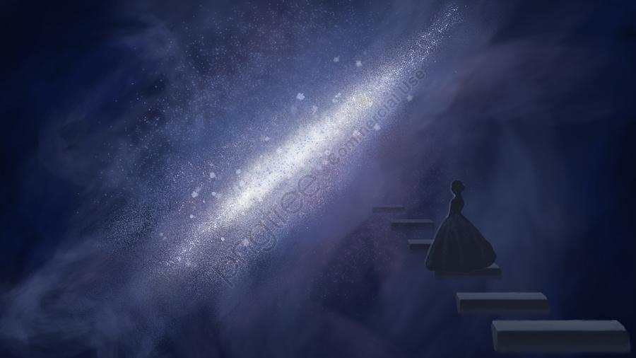 Лестница лунатизма, трап, Млечный Путь, Звездное небо llustration image
