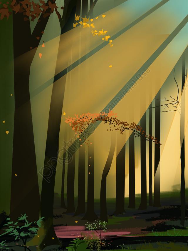 सुंदर वन परिदृश्य चित्रण, सीनरी, चित्रण, सुंदर llustration image