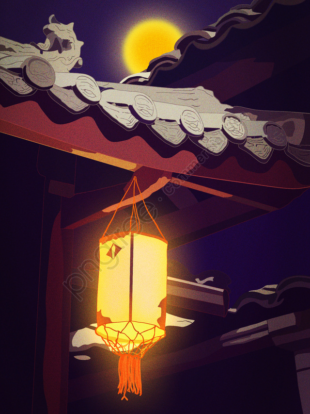 Good night hello ancient building attic corner scenery, Late, Good Night, Night llustration image