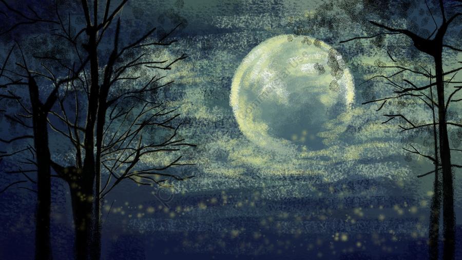 손으로 그린 달빛 달빛 나무 구름, 나뭇잎, 늦은 밤, 장식 그림 llustration image