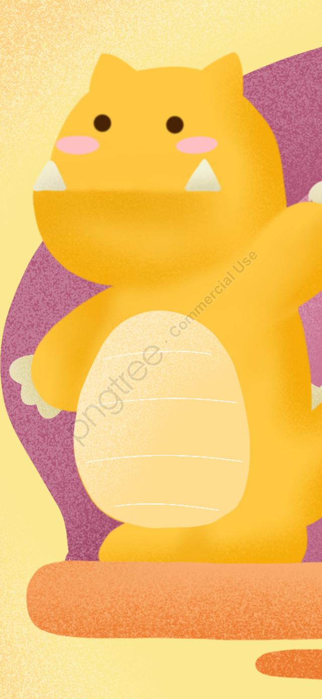 Letter 邂逅 G Yellow Cute Gradient Monster Child Illustration, Letter 邂逅, Capital Letter G, G llustration image