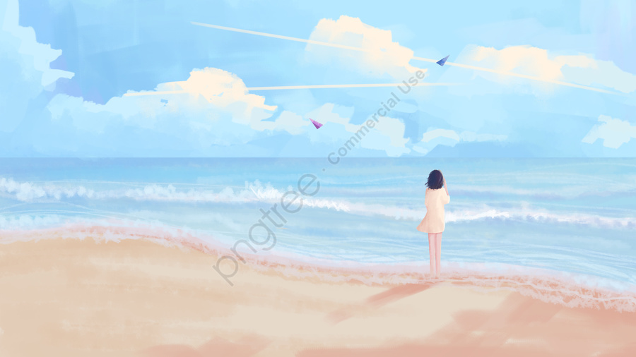 आकाश की ओर देख रहा है और समुद्र को, आकाश की ओर देख रहा है, नीला आकाश, सफेद बादल llustration image