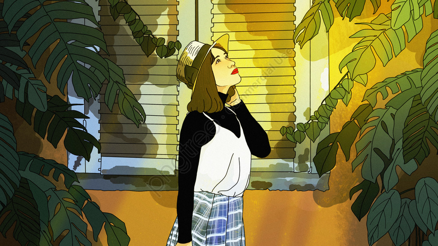 Teenage girl hand-painted illustration under the sky window original sunset, Lookout, Sky, Sunset Glow llustration image