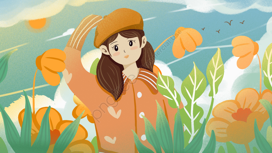 Cute cartoon girl watching the clouds in flat autumn landscape, Lovely, Cartoon, Flat llustration image