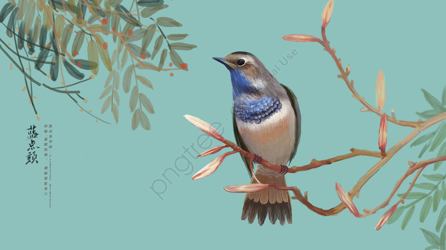 Ancient Flower And Bird Illustration Blue Dot, Messy Flower And Bird, Painting, Ancient Flowers And Birds llustration image