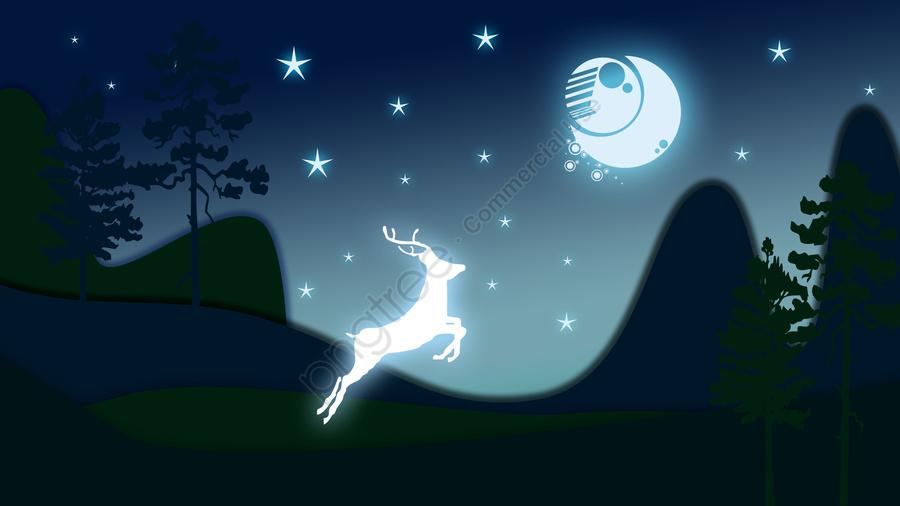Good Night Deer Forest Paper Illustration, Microscopic Paper Wind, Reindeer, Sunlight llustration image