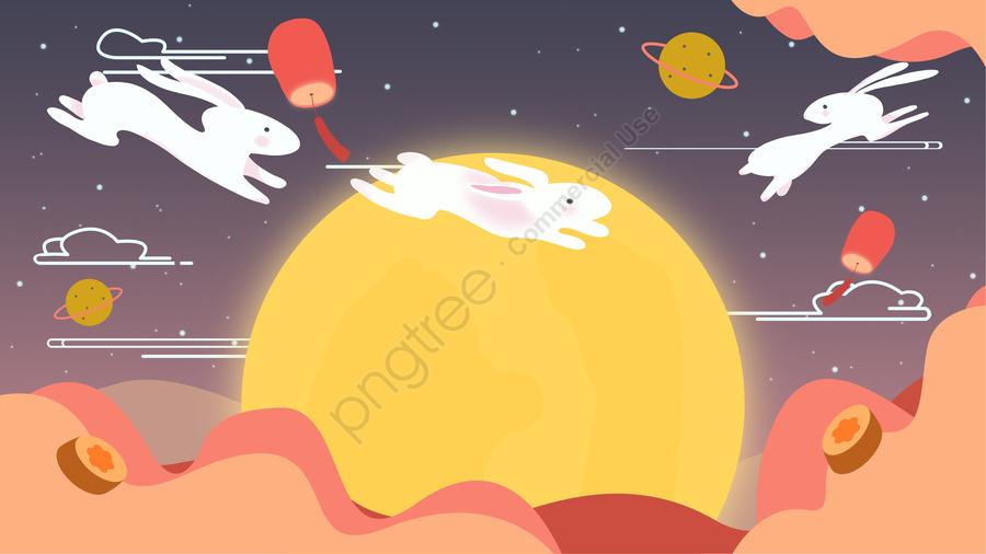 中秋玉兔鬧團圓 中秋節快樂, 中秋, 明月, 中秋節 llustration image