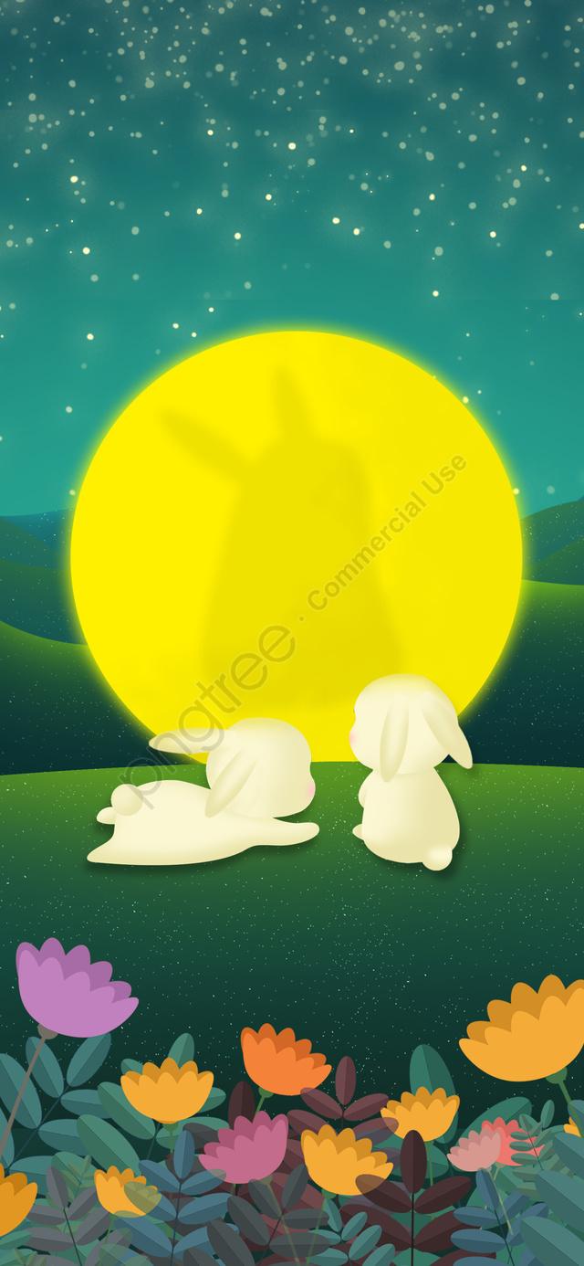 中秋節插畫繪畫節日月亮兔子, 中秋節, 中秋, 月亮 llustration image