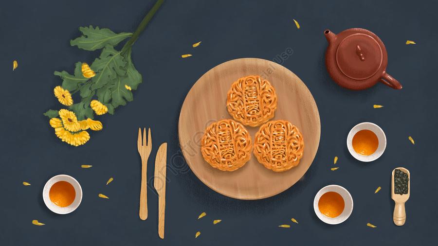 美しい中秋節オリジナルイラスト中秋節月餅香り茶, 中秋節, ムーンケーキ, 花 llustration image