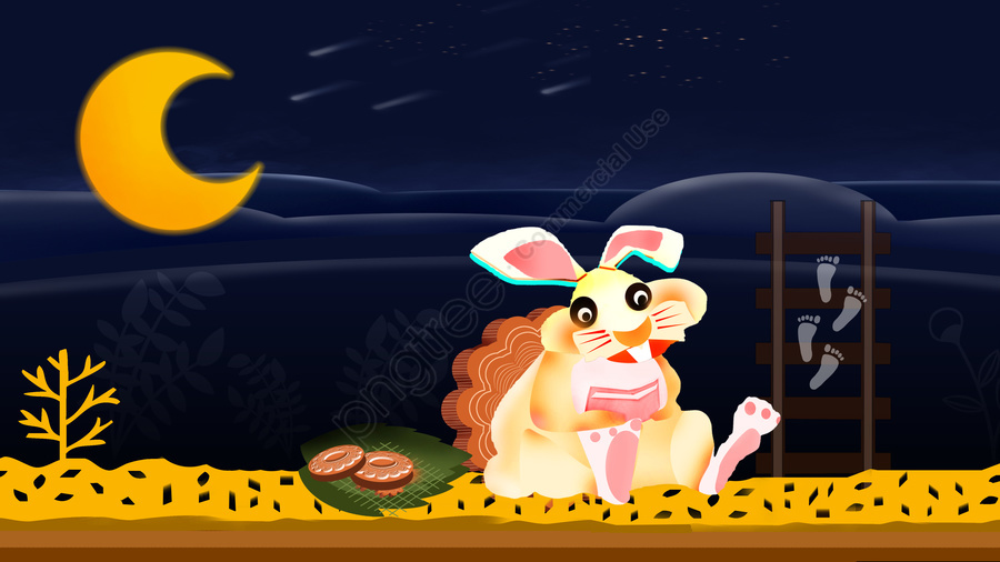 Tết Trung Thu Moon Rabbit Mooncakes Minh Họa, Tết Trung Thu, Đêm, Lễ Hội llustration image