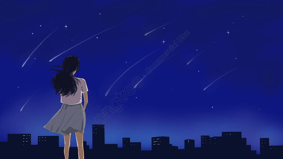 Original Illustration Of A Girl Watching The Starry Sky At City Roof Midnight, Midnight, City, Building llustration image
