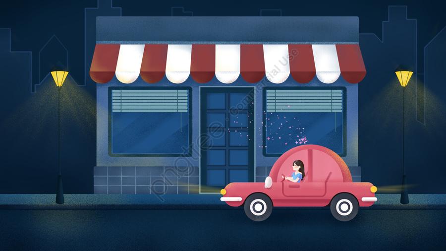 원래 손으로 그린 그림 자정 도시 거리 자동차 소녀, 한밤중의 도시, 자정, 밤 llustration image