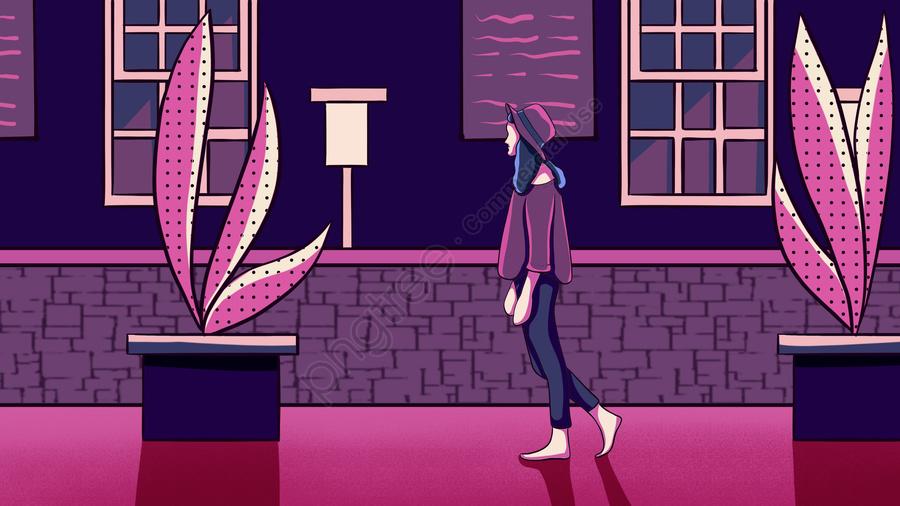 一人で夜の街を歩く夜の女の子手描きポスターイラスト壁紙, 真夜中の街, 夜, おやすみなさい llustration image