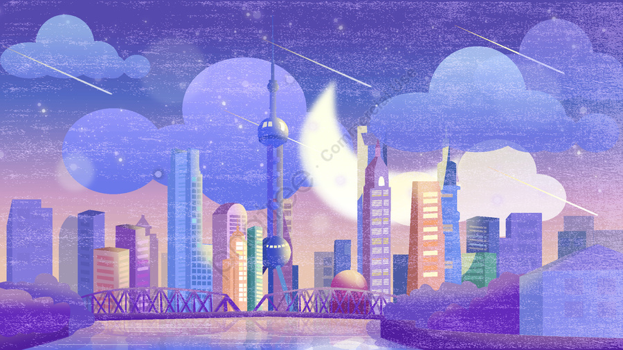 Oriental Pearl Illustrator Of Shanghai City Night View World Travel Day, Điện Thoại Di động Có Hình, Minh Họa, Hình Nền Di động llustration image