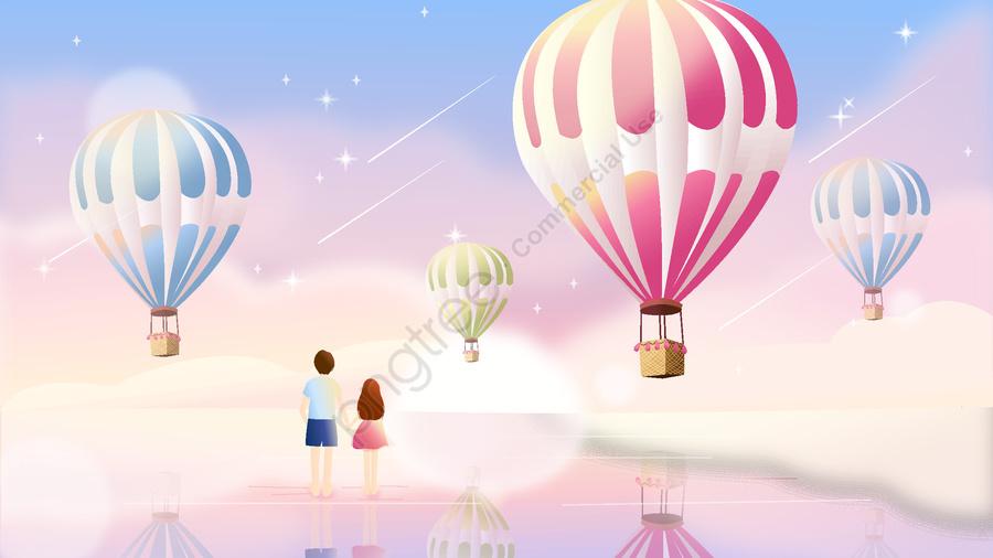 中国のバレンタインデーのロマンチックな熱気球の眺め, 写真付き携帯電話, イラスト, 夏 llustration image