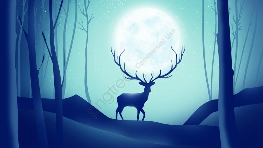 ファンタジーの森のヘラジカ, 月, エルク, 鹿 llustration image